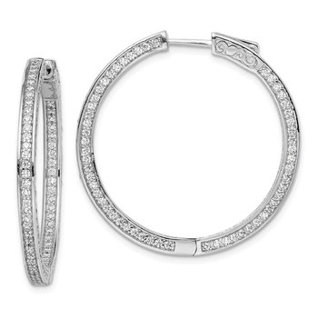 Sterling Silver CZ 336 Stones In and Out Round Hoop Earrings