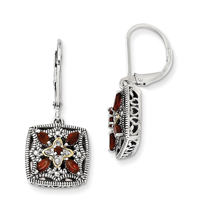 Shey Couture Sterling Silver w/14k Diamond & Garnet Earrings