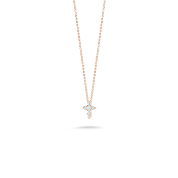 18Kt Gold Baby Cross Pendant With Diamonds