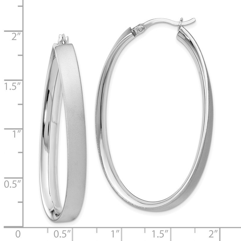 Leslie's Leslie's Sterling Silver Rhodium-plated Satin Oval Hoop Earrings