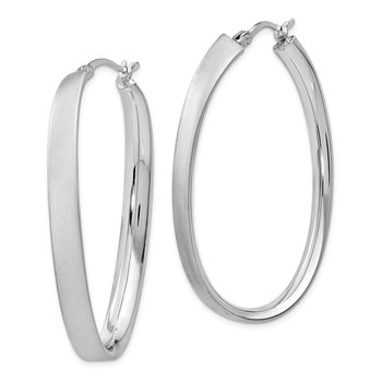 Leslie's Sterling Silver Rhodium-plated Satin Oval Hoop Earrings