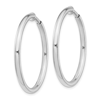 Sterling Silver RH-plated 2.5x30mm Non-Pierced Hoop Earrings
