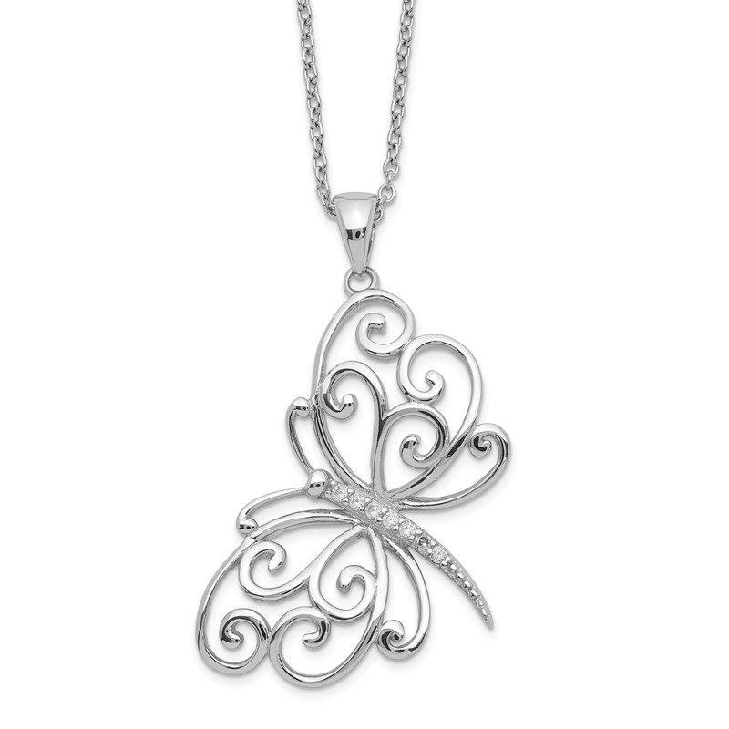 Sparkling Jewels Collection Cheryl M Sterling Silver CZ Butterfly 18in Necklace
