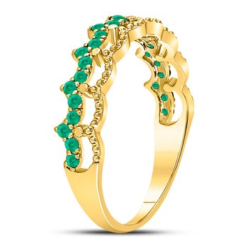 10kt Yellow Gold Womens Round Emerald Scalloped Stackable Band Ring 1/4 Cttw