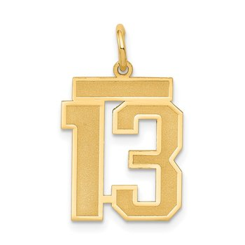 14k Medium Satin Number 13 Charm