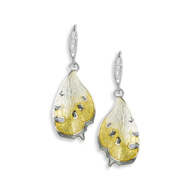 Nicole Barr Designs Yellow Butterfly Wire Earrings.Sterling Silver-White Sapphires