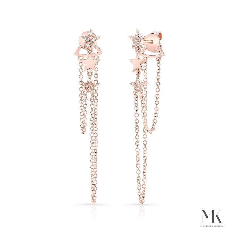 Rose Gold Dangling Star Earrings