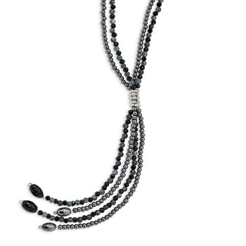 SS BlkAgate/BlkCrys/Hematite/Grey Quartz 2-Strand w/5in Drop Necklace