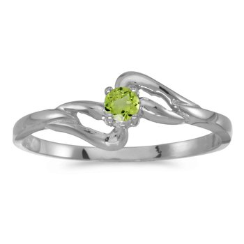 14k White Gold Round Peridot Ring