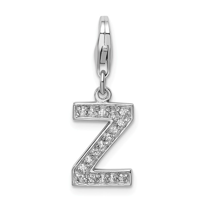 Quality Gold Sterling Silver Rhodium-plated CZ Letter Z w/Lobster Clasp Charm
