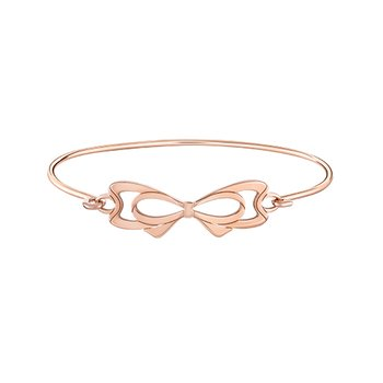 INTERLOCKING BOW ID BANGLE Sm/Med - SS w Rose Gold Electroplating