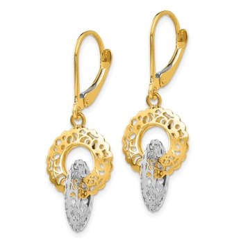 14K Two-tone Dangle Leverback Earrings