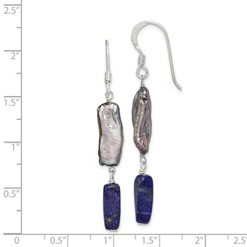 Sterling Silver Blue Lapis and Grey FW Cultured Pearl Earrings
