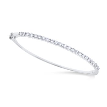 14K Gold and Diamond Hinged Bangle