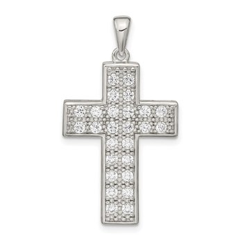 Sterling Silver CZ Latin Cross Pendant