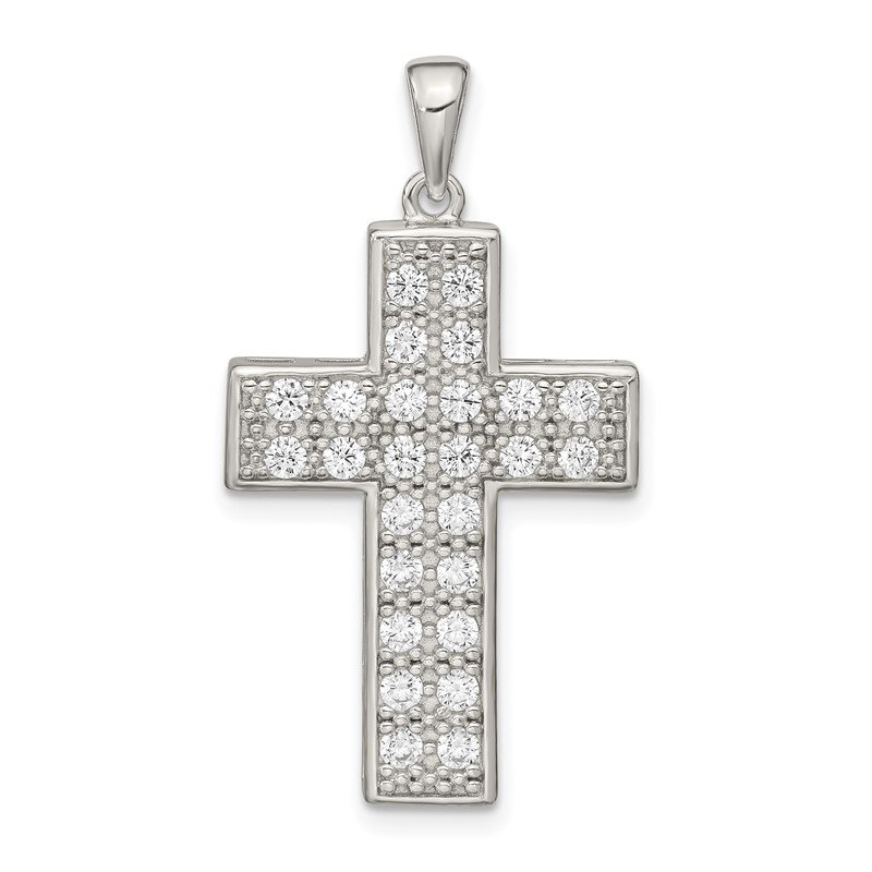 Quality Gold Sterling Silver CZ Latin Cross Pendant