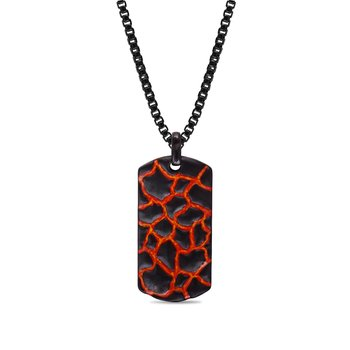 LuvMyJewelry Red & Orange Enamel Earth & Fire Textured Tag in Sterling Silver & Black Rhodium