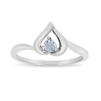 10k White Gold Round Aquamarine Heart Ring