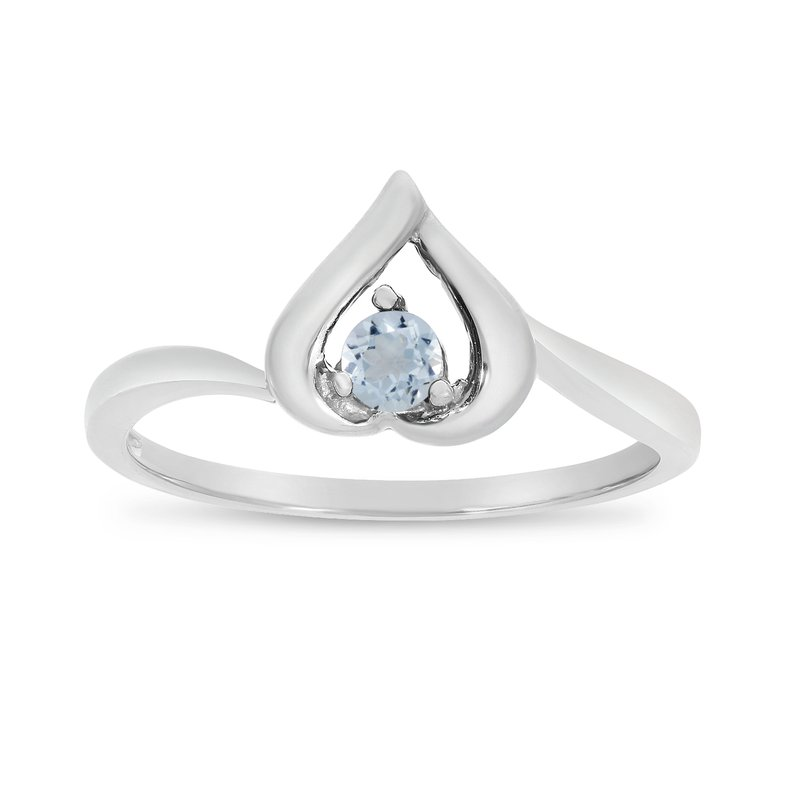 Color Merchants 10k White Gold Round Aquamarine Heart Ring