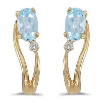 14k Yellow Gold Oval Aquamarine And Diamond Wave Earrings