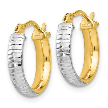 Leslie's 14K White Rhodium Polished & D/C Hoop Earrings