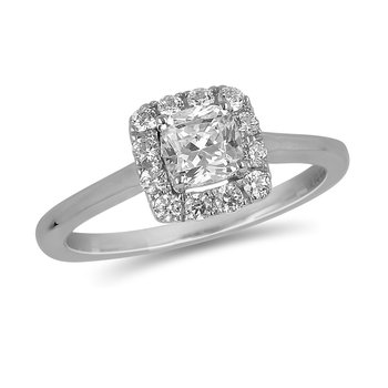14K WG Diamond cushion Halo Ring in Prong Setting