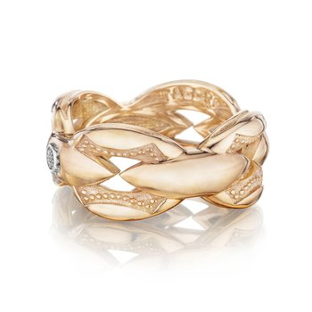 Bold Crescent Links Ring in Rose Gold