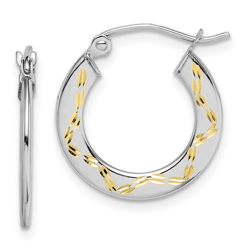 Quality Gold 10K White Gold & Yellow Rhodium Diamond Cut Hoop Earrings