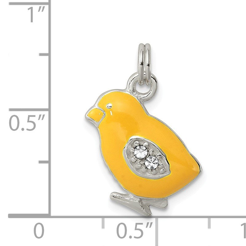 Quality Gold Sterling Silver Preciosa Crystal Enameled Yellow Baby Chick Charm