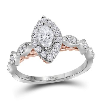 14kt Two-tone White Rose Gold Womens Marquise Diamond Solitaire Bellina Bridal Wedding Engagement Ring 3/4 Cttw