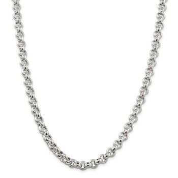Sterling Silver 7.75mm Semi-solid Rolo Chain