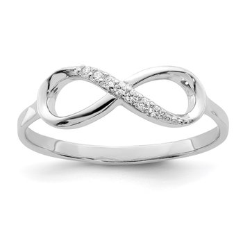 Sterling Silver Rhodium-plated Polished CZ Infinity Ring