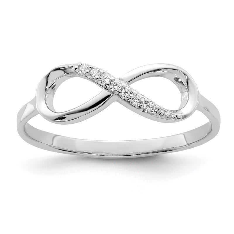 Quality Gold Sterling Silver Rhodium-plated Polished CZ Infinity Ring