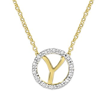 "Gold and Diamond Mini Halo ""Y"" Initial Necklace"