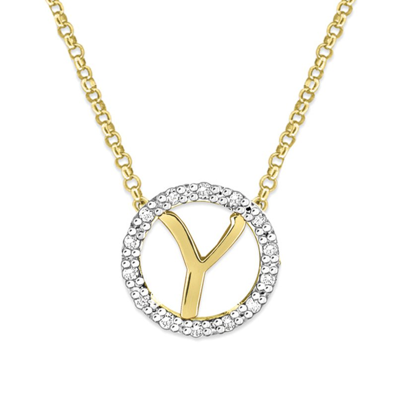 "KC Designs Gold and Diamond Mini Halo ""Y"" Initial Necklace"