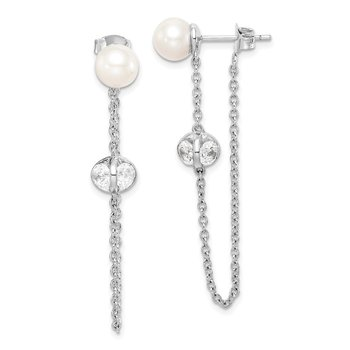 Sterling Silver Rhd-plt 6-7mm Round FWC Pearl CZ Front and Back Earrings