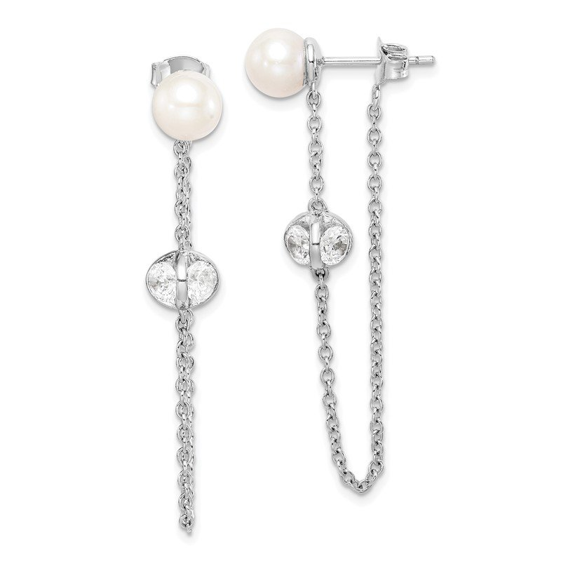 Quality Gold Sterling Silver Rhd-plt 6-7mm Round FWC Pearl CZ Front and Back Earrings