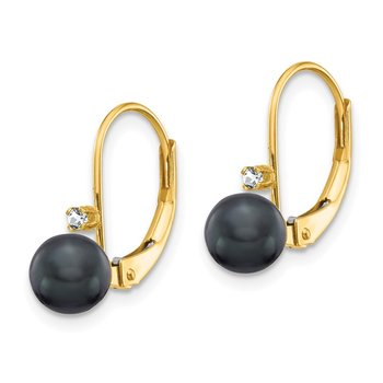 14k 5-6mm Black FW Cultured Pearl AA Diamond Leverback Earrings