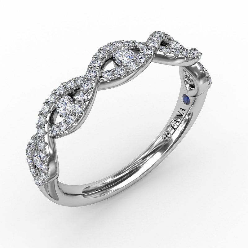 Fana Twisted Diamond Band with Channel Set Diamonds