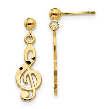 14k Polished & Diamond-Cut Treble Clef Dangle Post Earrings