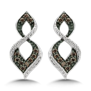 Pave set Cognac and White Diamond Open Wave Earrings, 10k White Gold  (3/8 ct. dtw.)