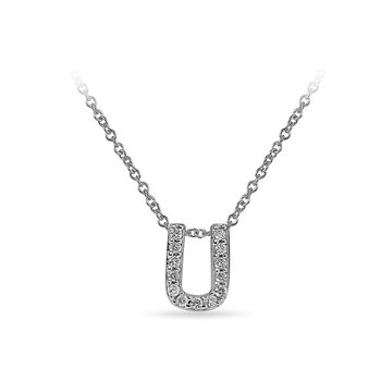 "10K WG and diamond block letters alphabet U ""chain-sliding"" pendant in prong setting"