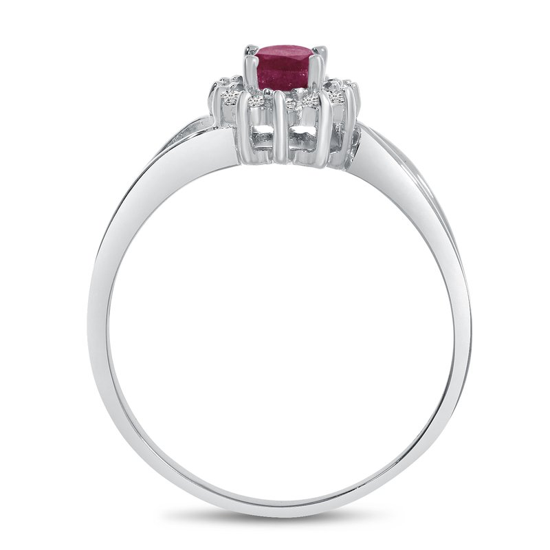 Color Merchants 10k White Gold Oval Rhodolite Garnet And Diamond Ring