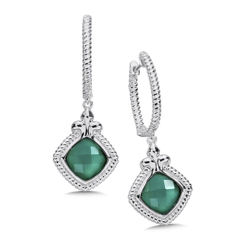 Colore Sg Sterling Silver White Quartz & Dyed Green Agate Fusion Dangle Hoop Earrings