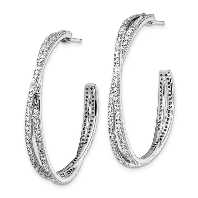 Quality Gold SS Rhodium-Plated CZ Brilliant Embers Hoop Earrings