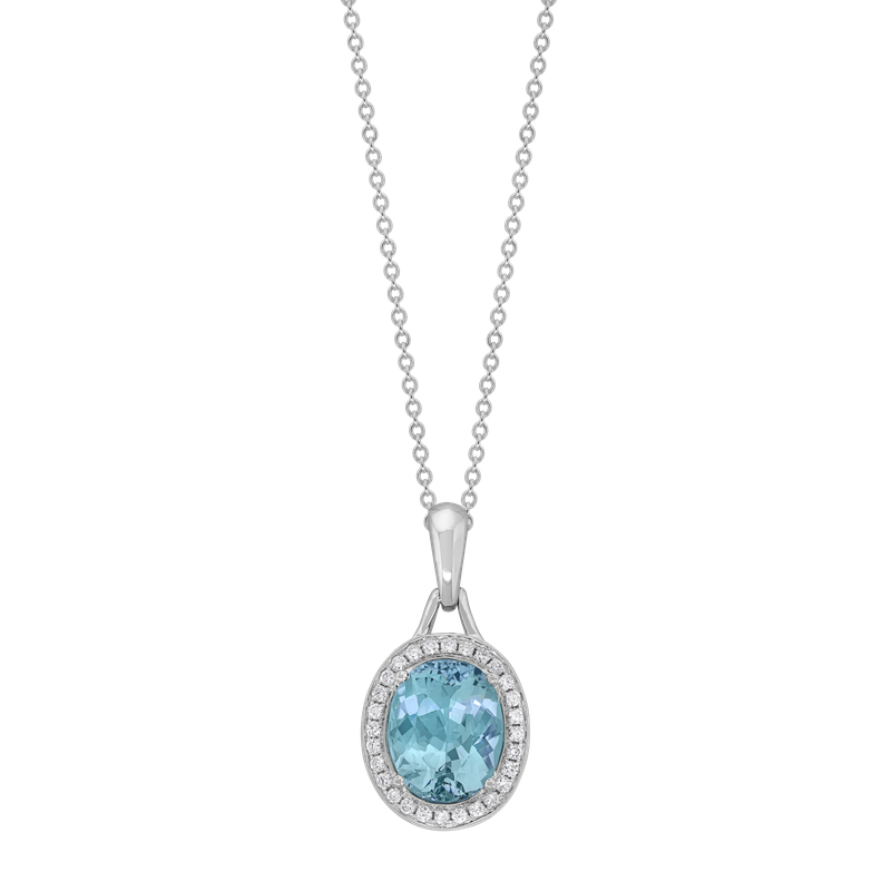 Spark Creations Aquamarine & Diamond Necklace