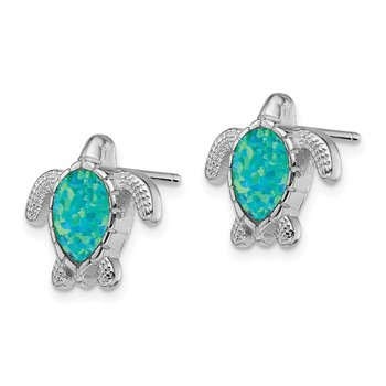 Sterling Silver Rhodium-plated Green Created Opal Turtle Post Earrings