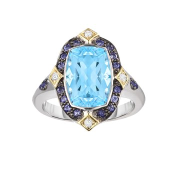 Silver & 18K Sky Blue Topaz & Dia Gem Candy Ring
