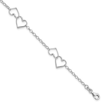 Sterling Silver Rhodium Plated Heart Bracelet