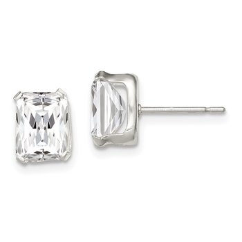 Sterling Silver Emerald-cut 8x6 Basket Set CZ Stud Earrings
